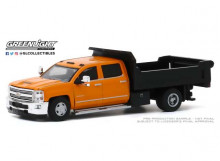 GREENLIGHT 1:64 - CHEVROLET SILVERADO 3500 2017 DUALLY DUMP TRUCK *DUALLY DRIVERS SERIES 4*, ORANGE/BLACK