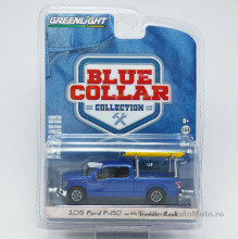 GREENLIGHT 1:64 - FORD F-150 2015 WITH LADDER RACK *MOTORCRAFT QUALITY PARTS* (BLUE COLLAR SERIES 3)