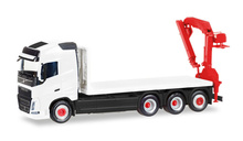 HERPA (MINIKIT) 1:87 - Volvo FH Gl. 4 axle flat truck with loading crane, white