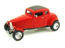 MOTOR MAX 1:18 - FORD 1932 HOT ROD 5-WINDOW COUPE, RED
