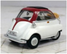 CARARAMA 1:43 - BMW ISETTA 250 BURGUNDY ROOF / WHITE BODY