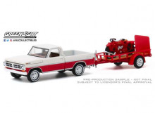 GREENLIGHT 1:64 - FORD F-100 1972 AND UTILITY TRAILER WITH 1920 INDIAN SCOUT MOTORCYCLE *HITCH & TOW SERIES 20*, RED/