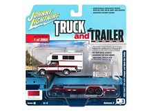 JOHNNY LIGHTNING 1:64 - FORD F-150 1993 WITH CAMPER AND OPEN CAR TRAILER, RED METALLIC