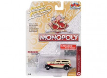 JOHNNY LIGHTNING 1:64 - MONOPOLY 1933 FORD PANEL DELIVERY & TOKEN, CREAM/BLACK