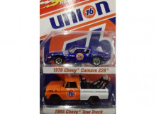 JOHNNY LIGHTNING 1:64 - SET OF 2, 1965 CHEVROLET PICKUP TOW TRUCK, ORANGE CAB WITH WHITE BED & UNION 76 GRAPHICS & 197