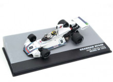 MAGAZINE MODELS 1:43 - BRABHAM BT44B 1975 MARTINI RACING #8 CARLOS PACE WINNER GP BRAZIL F1, WHITE/BLUE