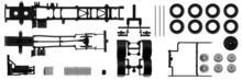 HERPA 1:87 - Chassis for MAN TGX / TGS 3-axle LKW Content: 2 pcs.