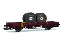 Rivarossi HO (1:87) - DB, 2-axle flat wagon Kls, loaded with two cable drums 'SIEMENS', epoch IV