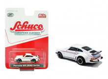 SCHUCO 1:64 - PORSCHE 911 (930) TURBO, WHITE/BLUE/RED
