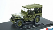 WELLY 1:18 - JEEP WILLYS US ARMY SOFT TOP 1945, DARK GREEN
