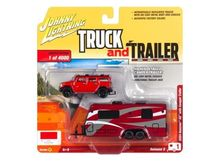 JOHNNY LIGHTNING 1:64 - HUMMER H2 2004 WITH CAMPER TRAILER, RED