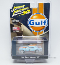 JOHNNY LIGHTNING 1:64 - CHEVY CAMARO SS 1968 #6 GULF RACING, ORANGE-BLUE