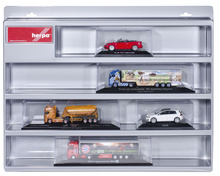 HERPA 1:87 - Show case for PC rigid tractor, semitrailer and PKW 1:43, silver, size 22.22 in x 17.7 in x 3.4 in