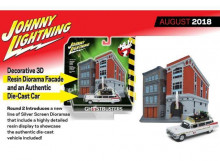 JOHNNY LIGHTNING 1:64 - CADILLAC 1959 DIORAMA GHOSTBUSTERS II ECTO 1A INCLUDES FIREHOUSE EXTERIOR
