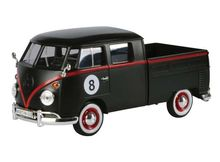 MOTOR MAX 1:24 - VOLKSWAGEN TYPE 2 (T1) PICKUP HOT ROD 8 BALL, MATT BLACK/RED