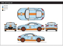 MOTORMAX 1:24 - AUDI TT 'GULF' 2015, LIGHT BLUE/ORANGE