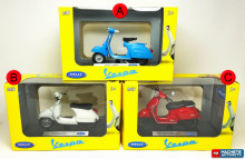 WELLY 1:18 - VESPA ASSORTMENT, 150CC 1970, PX 2016, GTS 125C - 1 BUCATA