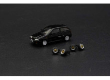 BM CREATIONS 1:64 - SUZUKI SWIFT 1989 LHDWITH EXTRA WHEELS, BLACK