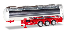 HERPA 1:87 - chrome-plated chemical tank trailer Feldbinder, 32m³ (red)