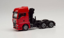 HERPA 1:87 - MAN TGX GX 6X4 TRACTOR WITH CRANE AND EXTENDABLE SUPPORTS, RED