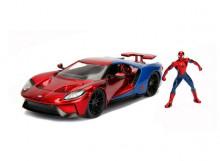 JADA 1:24 - FORD GT 2017 *SPIDERMAN* INCLUDING SPIDERMAN FIGURE, RED/BLUE