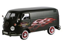 MOTOR MAX 1:24 - VOLKSWAGEN TYPE 2 (T1) DELIVERY VAN 'CUSTOM GARAGE', MATT BLACK WITH FLAMES