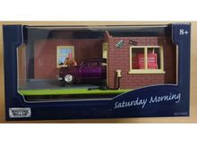 MOTORMAX 1:64 - MERCURY HOTROD 1949 IN *SATURDAY MORNING* DIORAMA, PURPLE