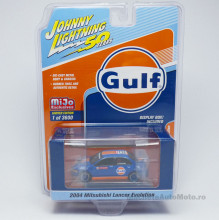 JOHNNY LIGHTNING 1:64 - MITSUBISHI LANCER EVOLUTION 2004 *GULF*, ORANGE-BLUE