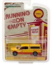 GREENLIGHT 1:64 - FORD F-150 WITH CAMPER, 'SHELL OIL' 2016, 'RUNNING ON EMPTY SERIES 3', RED/YELLOW