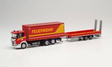"""HERPA 1:87 - Scania CG 17 curtain canvas truck with lowbed trailer with ramps """"Fire Department"""""""