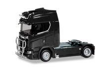 HERPA 1:87 - SCANIA CS20 HIGH ROOF TRAILER WITH LIGHT BAR AND BUMPER, BLACK