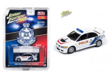 JOHNNY LIGHTNING 1:64 - MITSUBISHI LANCER EVOLUTION 2004 *MALAYSIA POLICE*, WHITE/BLUE