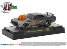 M2 MACHINES 1:64 - PLYMOUTH CUDA 440 1971, 'WILD CARDS RELEASE WC05', GREY