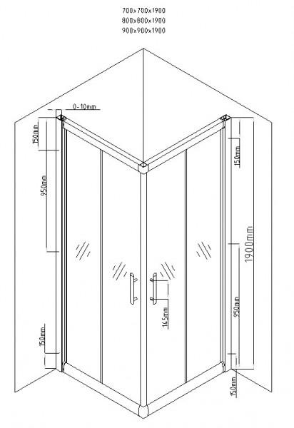 Cabina de dus patrata QFRESH Square 80x80cm, sticla securizata si profile crom lucios