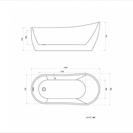 Cada freestanding ovala din acril ATHENA 170*80 cm