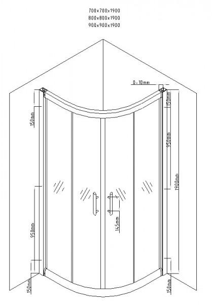 Cabina de dus semirotunda QFRESH Round 80x80cm, sticla securizata si profile crom lucios