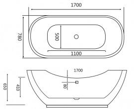 Cada freestanding ovala din acril VESTA 170*78 cm