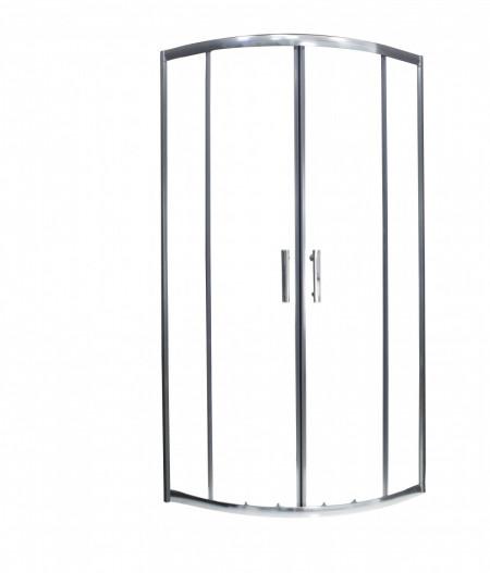 Cabina de dus semirotunda QFRESH Round 90x90cm, sticla securizata si profile crom lucios