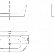 Cada freestanding ovala din acril JASMINE 160x75cm