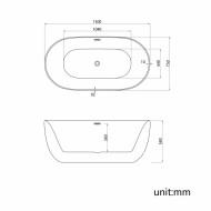 Cada freestanding ovala din acril DIANA 150*75 cm