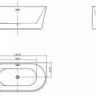 Cada freestanding ovala din acril JASMINE 150*75cm