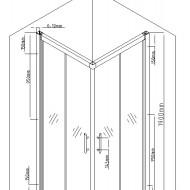 Cabina de dus patrata QFRESH Square 90x90cm, sticla securizata si profile crom lucios