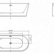 Cada freestanding ovala din acril JASMINE 170*75cm
