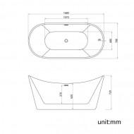 Cada freestanding ovala din acril JUNO 170*80 cm