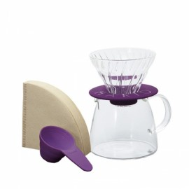 HARIO V60 KIT COFFEE BREWER CLEAR PURPLE GLASS TIP 01