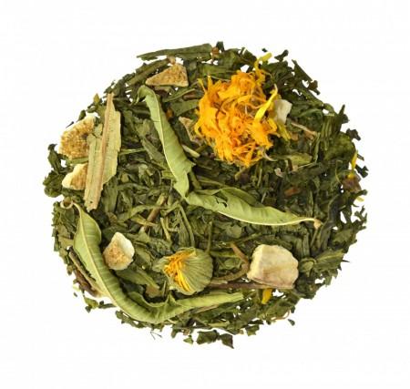 MELLOW MANDARINE amestec de ceai verde, fructe si plante Bio cu gust de mandarine si grapefruit
