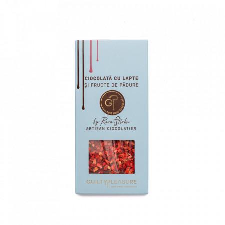 Tabletă Artizanala de Ciocolată cu Lapte şi Fructe de Padure Liofilizate 100g