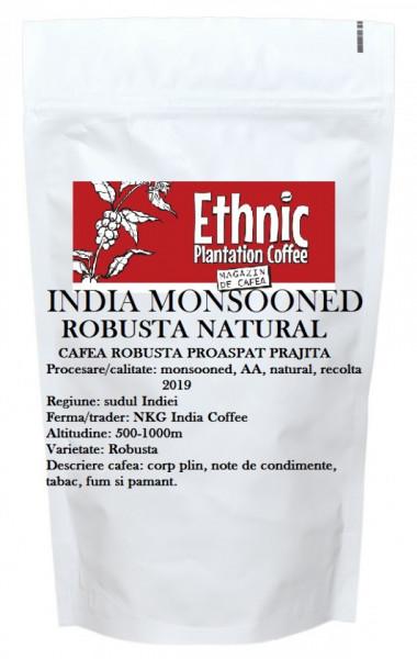 India Monsooned AA Robusta natural cafea proaspat prajita, 100g plic