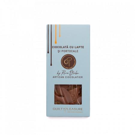 Tabletă Artizanala de Ciocolată cu Lapte şi Portocale 100g
