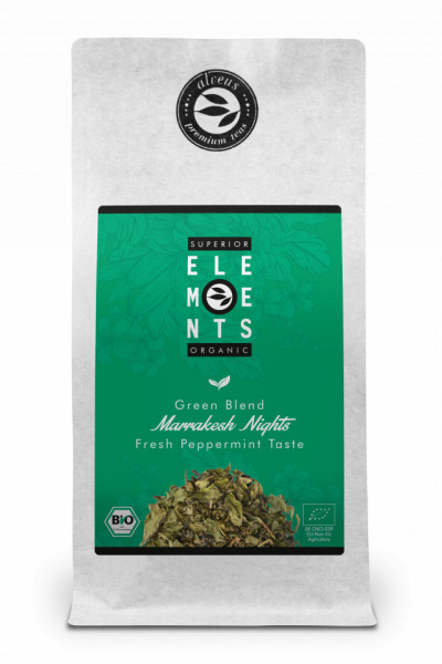MARRAKESH NIGHTS TEA ORGANIC ELEMENTS ALVEUS HANDMADE ceai verde si plante cu gust de menta proaspata